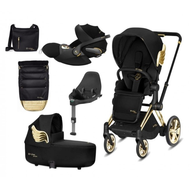 Cybex Priam Travel System – Wings by jeremy Scott Gold Lux Cloud Z Base